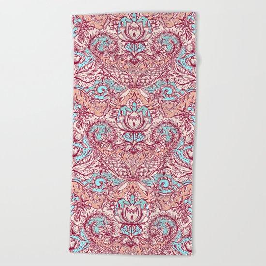Natural Rhythm - a hand drawn pattern in peach, mint & aqua Beach Towel