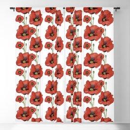 Watercolour Poppies Blackout Curtain