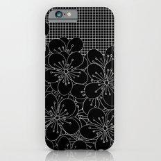 Cherry Blossom Grid Black iPhone 6s Slim Case
