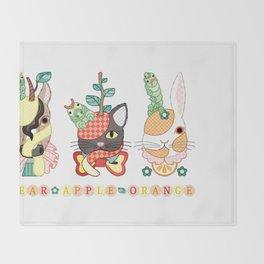 Fruit animals a pear horse, an apple cat, a mandarin orange rabbit, with green caterpillars (remake) Throw Blanket