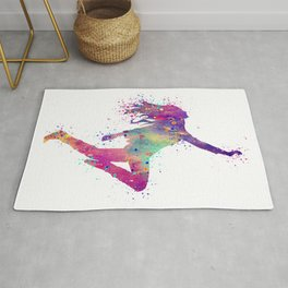 Hip-Hop Girl Art Dancer Gift Colorful Purple Watercolor Art Rap Music Gift RnB Music Rug