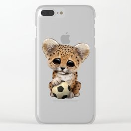 Leopard Cub With Football Soccer Ball Clear iPhone Case