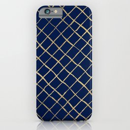 Elegant  abstract geometrical navy blue gold pattern iPhone Case