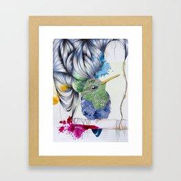Hummingbird with Ultraviolet Updo Framed Art Print