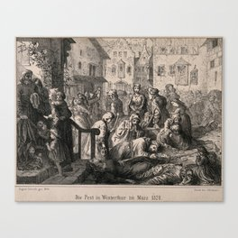 The plague in Winterthur in 1328. Lithograph by A. Corrodi, 1860. Canvas Print