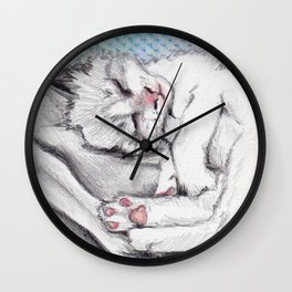 Sweet cat Pincel sleeping Wall Clock