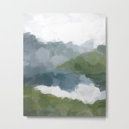 Gray Blue Lake White Clouds Green Mountain Reflection Abstract Nature Painting Art Print Wall Decor  Metal Print