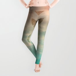 Soft Emerald Beige Clouds Moon Phases #1 #decor #art #society6 Leggings