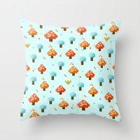 mushroom Throw Pillows featuring Mushroom by Kakel