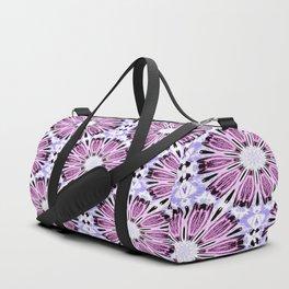 Rose Pink Light Blue Flower Background Pattern Duffle Bag