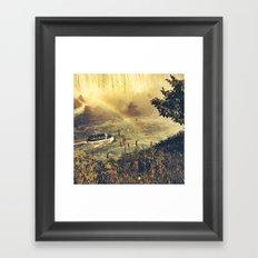 Eyes filled with rainbow, she slid bravely past the rocks. Framed Art Print