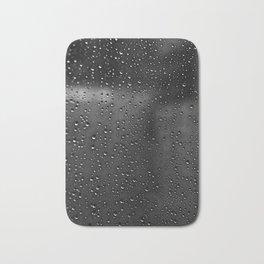 Black and White Rain Drops; Abstract Bath Mat