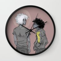grantaire Wall Clocks featuring Enjolras and Grantaire by icarusdrunk