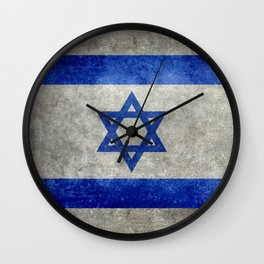 Israeli National Flag in grungy retro style שְׂרָאֵל‎ Wall Clock
