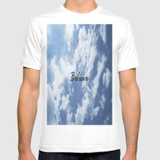 Believe MEDIUM White Mens Fitted Tee