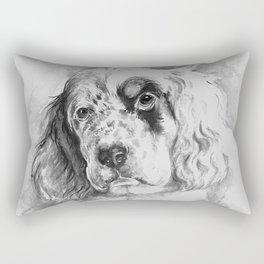 English Setter puppy Black and white portrait Rectangular Pillow