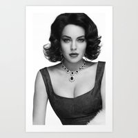 lindsay lohan Art Prints featuring Lindsay Lohan as Elizabeth Taylor by OUR PRINCE OF PEACE