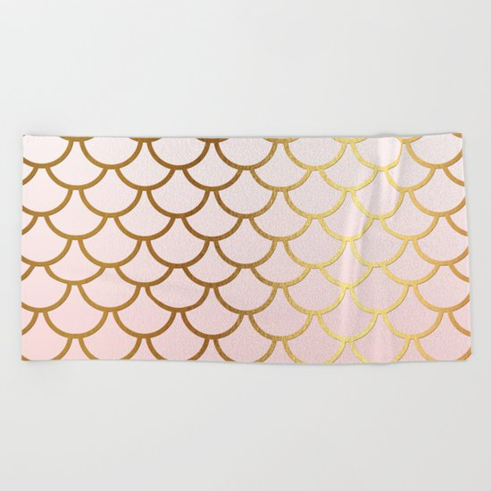 Pink Gradient and Gold Foil MermaidScales - Mermaid Scales on  #Society6 Beach Towel