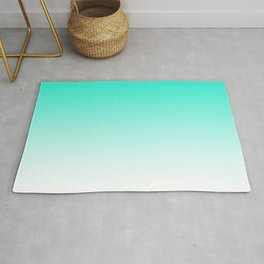 Modern bright simple mint green white color ombre gradient Rug