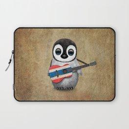 Baby Penguin Playing Thai Flag Guitar Laptop Sleeve