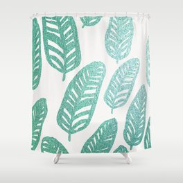 Bright green and blue leaves Shower Curtain