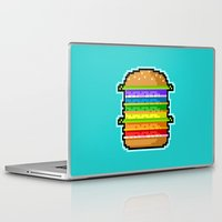 hamburger Laptop & iPad Skins featuring Pixel Hamburger by Sombras Blancas Art & Design