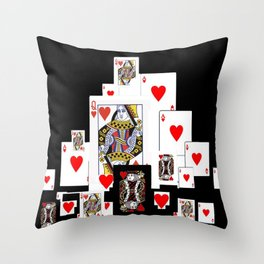 RED CASINO COURT PLAYING CARDS IN BLACK Throw Pillow