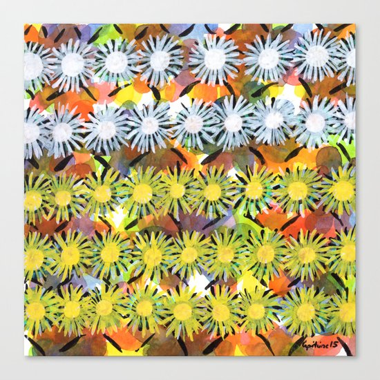 Rainbow Flower Pattern Canvas Print