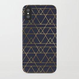 Modern Gold Navy Blue iPhone Case