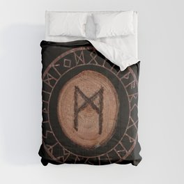 Mannaz - Wooden Celtic Rune of self, individuals, universe, family, loved ones, friends, devoted Comforters
