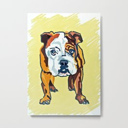 Bulldog Puppy Dog Portrait Metal Print