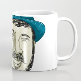 Hipster Wearing Fedora Hat Smiling Drawing Coffee Mug