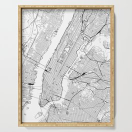 New York City White Map Serving Tray