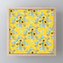Beautiful Sunflower Pattern Framed Mini Art Print