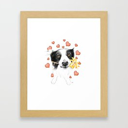 Border Collie And Hearts Framed Art Print