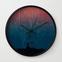 night Wall Clocks featuring Meteor rain by Picomodi