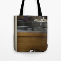 english bulldog Tote Bags featuring English Bulldog by sovichka
