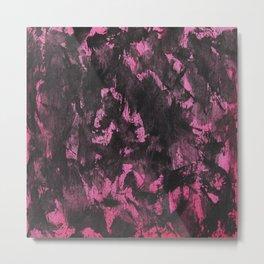 Black Ink on Pink Background Metal Print