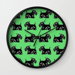 Scottie Dogs Green & Black Pattern Wall Clock
