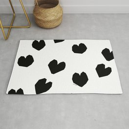 Love Yourself no.2 - black heart pattern love minimal black and white illustration Rug