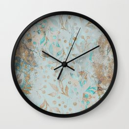 Pastel Botanical Watercolor Pattern Teal Gold Glitter Wall Clock