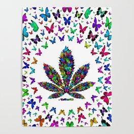 Butterflies Cannabis Leaf 3 Poster