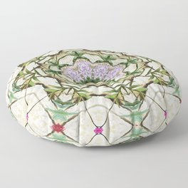 Orchids And Stone Wall Kaleidoscope 1764 Floor Pillow