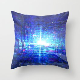 Blue Reflecting Tunnel Throw Pillow