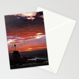 Beacon off Mount Desert Island, Maine by Frederic Edwin Church Stationery Cards