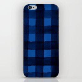 Buffalo Plaid Watercolor in Blue iPhone Skin