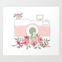 Camera Colorful Flowers Art Print