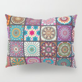 Boho Patchwork Mandela Pattern Pillow Sham