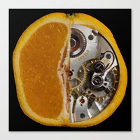 clockwork orange Canvas Prints featuring Clockwork Orange by Cornish Seascapes