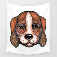 beagle Wall Tapestries featuring Dog-Beagle by Lex_Sky